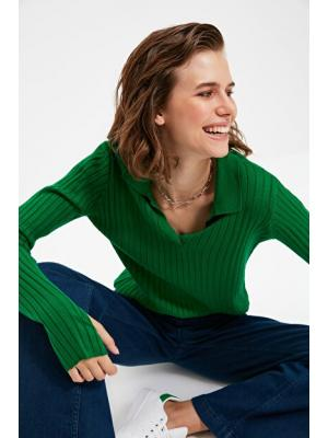 Women's Polo Collar Green Tricot Sweater