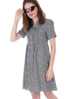 Women's Front Button Patterned Dress