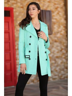 Women's Belted Buttoned Mint Green Trenchcoat