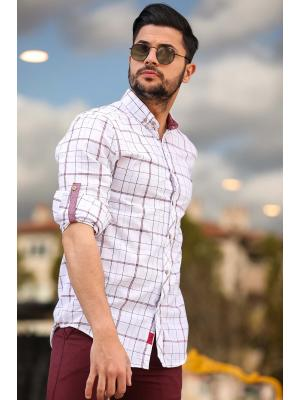 Men's Roll-up Sleeves Claret Red Striped White Shirt