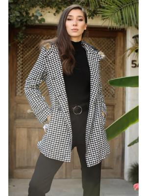 Women's Hooded Button Houndstooth Pattern Black White Coat