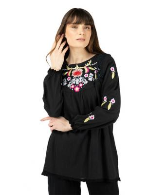 Women's Embroidered Black Blouse