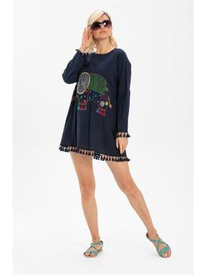 Women's Elephant Embroidered Navy Blue Tunic