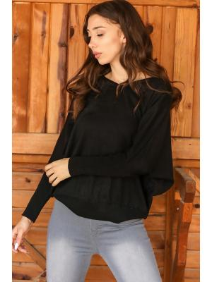 Women's Batwing Sleeves Black Tricot Sweater