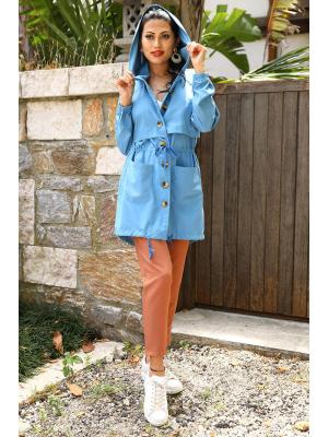 Women's Button Blue Trenchcoat
